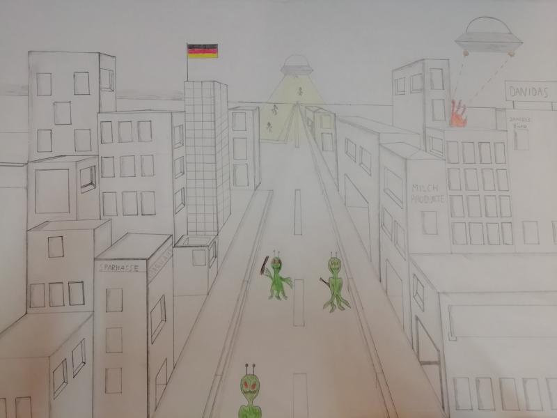 Fluchtpunktperspektive - Stadt